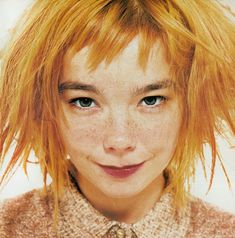 """""""Blond madness"""" Björk by Lorenzo Agius - i-D July 1996 ( she looks like Pippi Longstockings! Pretty People, Beautiful People, Beautiful Voice, Poses References, Foto Art, Unique Faces, Grunge Hair, Interesting Faces, Drawing People"""