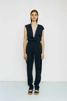 Richard Nicoll | Resort 2015 | 37 Black belted sleeveless jumpsuit with deep V-neck