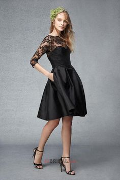 Modest A-Line Elastic Woven Satin with Lace Empire Bateau Half Sleeves Knee Length Drapped Short Bridesmaids Dresses
