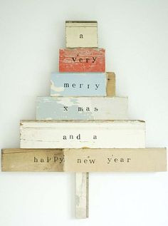wood christmas tree or could do it with book spines I would put Christmas rather than xmas Wood Christmas Tree, Noel Christmas, Little Christmas, Winter Christmas, All Things Christmas, Vintage Christmas, Christmas Decorations, Xmas Tree, Christmas Blocks