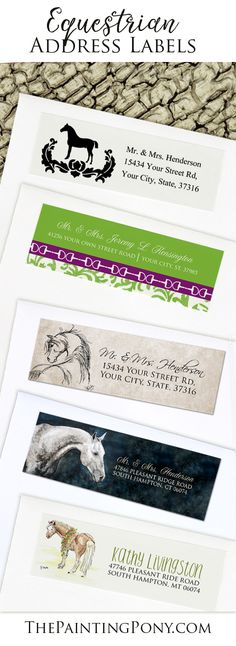 horse lover return address labels. Equestrian stationery sticker labels that are beautiful and high quality made especially for people who love horses and ponies. Just $5.25