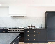 Carrara marble splash back + Lacanche Range in Victoria Road NW6 Kitchen #deVOLKitchens