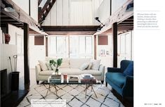 Fashion Designer Arione Goldman, featured in this months issue of Lonny Magazine, designed this beautiful living space.  Its light, airy and completely comfortable.  The criss cross legged coffee table drew me in initially, until taking in the complete room.  Simply put, a seamless design.  Lonny Sept 2012 | Lonnymag.com