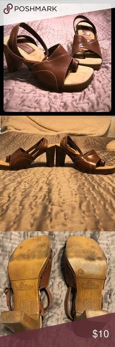 Brown Strappy Sandals w/Peekaboo Toe Brown heeled sandals by Fioni. Although bottoms look worn tops are very well made. All stitching and seams are good.  Look fabulous on, especially with capri's. #sandals,#summer FIONI Clothing Shoes Sandals