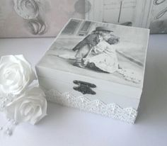 Decoupage box. Romantic picture, lace and pearl embellishments. Available in my Etsy shop. Link in bio.