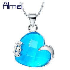 Find More Pendant Necklaces Information about Wholesale Fashion 2015 Jewelry 925 Sterling Silver Necklace Blue/Purple Zircon Crystal For Bridal Gifts Wedding Accessories N478,High Quality crystal charm necklace,China crystal drop necklace Suppliers, Cheap crystal bridal necklace from ULove Fashion Jewelry Store on Aliexpress.com