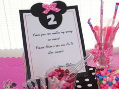 Candy Bar at a Minnie Mouse Birthday Party!  See more party ideas at CatchMyParty.com!