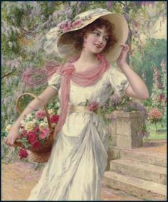 Emile Vernon The Flower Garden painting for sale, this painting is available as handmade reproduction. Shop for Emile Vernon The Flower Garden painting and frame at a discount of off. Vernon, Vintage Prints, Vintage Art, Beaux Arts Paris, Munier, Look Retro, Garden Painting, Foto Art, Victorian Women