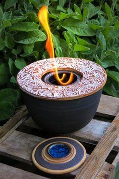 Tischfeuer/Feuerschale aus Keramik, klein