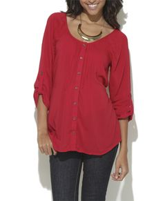 3/4 Sleeve Pintuck Tunic - Tops