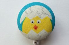 Popping Easter Chick Fabric Badge Reel $7