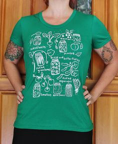 Canning  Womens Fitted T Shirt  Kelly Green   S M L by OneLaneRoad