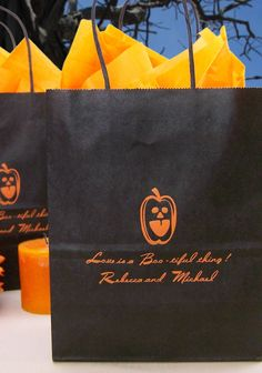 Personalized Halloween themed Kraft paper gift bags can be printed with up to four lines of custom print with your choice of design and lettering style. Fill you bags with treats and mementos for your wedding guests to enjoy at your event or afterwards. These bags can be ordered at http://myweddingreceptionideas.com/personalized_halloween_gift_bags.asp