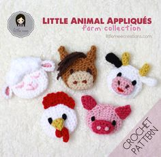 This Little Animal Appliqués: Farm Collection crochet pattern contains 5 animals: Chicken, Cow, Horse, Lamb and Pig. These Little Animal Appliqués can be made flat or 3D! They are worked in the round similar to the form of amigurumi and can be stuffed or made as an appliqué/motif without stuffing! There are many uses for these … … Continue reading →