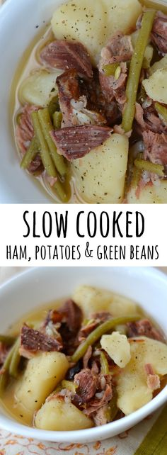 Ham, Green Beans Potatoes is the ultimate easy slow cooker meal. Only 3 ingredients, but its full of flavor! This is nutritious comfort food that your whole family will love eating for dinner. via @ Good Simple easy dinner recipes for family Crockpot Dishes, Crock Pot Slow Cooker, Crock Pot Cooking, Pressure Cooker Recipes, Crock Pots, Cooking Bacon, Cooking Wine, Cooking Turkey, Cooking Utensils