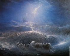 Купить Авторская картина Kyrie eleison! Господи, помилуй! - синий, ураган, шторм, океан