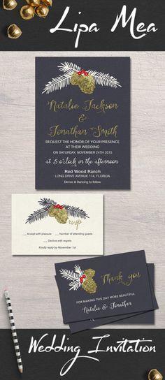 Winter Wedding Invitation Printable, Christmas Wedding Invitation, Black & Gold Wedding Invitation Set, Printable Wedding Pinecone Invite - pinned by pin4etsy.com