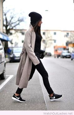 All black and grey coat