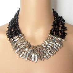 Stick Pearl and Gemstone Statement Necklace Smokey by Rocktopolis, $118.00