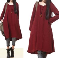 Wine red asymmetrical dress long section of literary / by dreamyil, $108.00