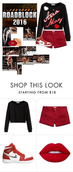 """""""Roadblock-Aria v.s. Sasha Banks"""" by riley-497 ❤ liked on Polyvore featuring NIKE and Lime Crime"""