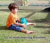 Increase Hand-eye coordination by playing belly ball (they have to stop the ball before it hits their belly!)