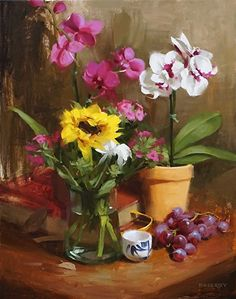 Laurie Kersey - Orchids with Sunflower- Oil - Painting entry - October 2015   BoldBrush Painting Competition