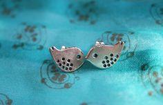 Baby Birdie Woodland Wonderland Stud Earrings. $8.95, via Etsy.