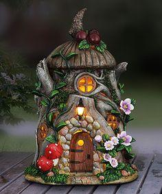 Cherry-Topped Stone Solar Fairy House Garden Décor