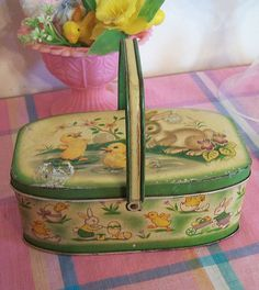 Vintage Easter Picnic Basket.  Come out to Jeffreys Antique Gallery (https://www.facebook.com/jeffreysantique) in Findlay, Ohio to find some great treasures.