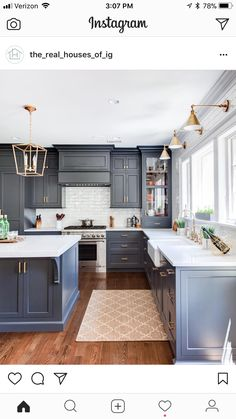 Modern Home Decor Slate blue kitchen cabinets and brass lighting in this classic kitchen. Home Decor Slate blue kitchen cabinets and brass lighting in this classic kitchen. Kitchen Ikea, New Kitchen Cabinets, Floors Kitchen, Kitchen Backsplash, Dark Cabinets, Cheap Kitchen, Awesome Kitchen, Backsplash Ideas, Kitchen Corner