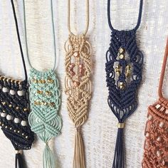 Tiny bits of gold, silver and rose gold tone beads knotted into intricate patterns. The new Macramé Tassel Necklaces are up in the shop! http://cordadesigns-shop.com/collections/new