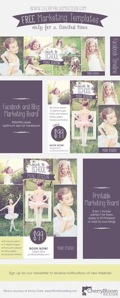 3 fabulous templates for photographers. Facebook timeline, blog board/facebook image, and printable flyer. Free for a limited time only!