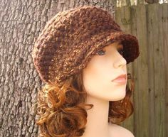 Crocheted Hat Womens Hat  Jockey Cap in Autumn by pixiebell