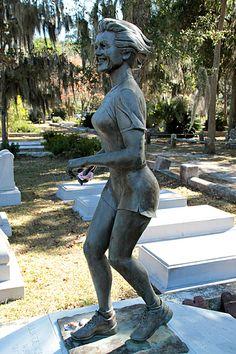 Marathoner, Bonaventure Cemetery Savannah Georgia, I wonder what the story is behind this. Cemetery Monuments, Cemetery Statues, Cemetery Headstones, Old Cemeteries, Cemetery Art, Graveyards, Savannah Georgia, Savannah Chat, Bonaventure Cemetery