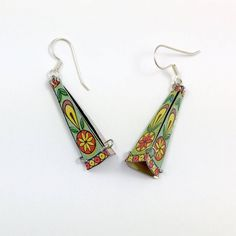 Folk art earrings, Recycled vintage tin jewelry, Dangle drop pyramid earrings, Vogue Street style