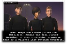 When Wedge and Hobbie joined the Rebellion, Sabine and Ezra worked together to play initiation pranks on them as a welcome into Phoenix Squadron. Star Wars Facts, Star Wars Humor, Star Wars Rebels, Sw Rebels, Han Shot First, Star Wars Wallpaper, Star Wars Poster, Bullet Journal Ideas Pages, Love Stars