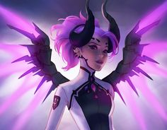"Viktoria Gavrilenko on Twitter: ""First of a series of fanarts of Overwatch characters in Legendary Skins! Next: Tracer Punk! @PlayOverwatch #Mercy https://t.co/VaNRSiIobl"""