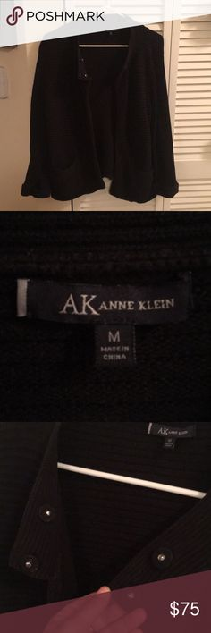 🗝Anne Klein Combed Cotton heavy Accent Sweater🗝 🗝Anne Klein Combed Cotton heavy Accent Sweater🗝 2 pockets, charming mag clips to close, very heavy, adjustable, folded sleeve on bottom, no pillage whatsoever not lightweight, looks it on though, classy piece for ANY occasion.  Hand wash soak,lil soap or baby det.,can dry clean, lay flat to dry & adjust to desired look in process. Will video upon pkg 2 mail.Kept in charc sealed bag, wore 1x to an event last winter. Will sell at fair price…