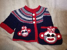 Sock Monkey Coat and Diaper Cover.  Design by Kats Hats