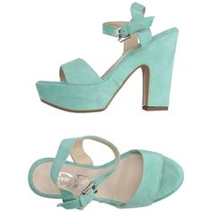 Divine Follie Sandals ($120) ❤ liked on Polyvore featuring shoes, sandals, light green, square heel shoes, buckle sandals, leather buckle sandals, leather sandals and leather ankle wrap sandals