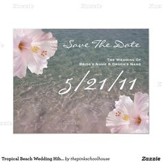 Tropical Beach Wedding Hibiscus Save The Date 4.25x5.5 Paper Invitation Card