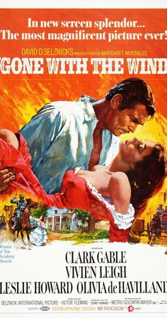 Directed by Victor Fleming, George Cukor, Sam Wood.  With Clark Gable, Vivien Leigh, Thomas Mitchell, Barbara O'Neil. A manipulative Southern belle carries on a turbulent affair with a blockade runner during the American Civil War.