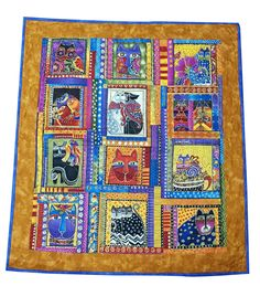 Wall Hanging Quilt in Laurel Burch Bright Colorful Cats by Sieberdesigns on Etsy