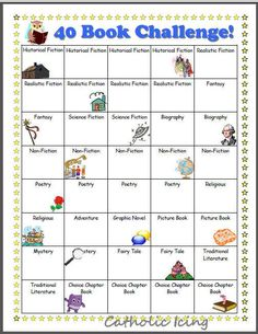 Printable 40 book challenge by genre - free!