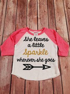 She Leaves a Little Sparkle Wherever She Goes Pink Gold Sparkle Raglan Shirt, Baby Raglan Tee,Toddler Raglan Tee,Childrens Raglan tee