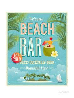 Vintage Beach Bar Poster Taidevedos