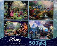 The Ceaco Thomas Kinkade Disney Dreams Jigsaw Puzzle Pack features Images of Sleeping Beauty, Mickey & Minnie Mouse, Snow White & Seven Dwarfs, and Cinderella. Each puzzle is 500 pieces and provides hours of fun.