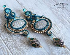 Items similar to Green Dream - necklace+earrings on Etsy Stone Earrings, Leather Earrings, Ring Earrings, Beaded Earrings, Earrings Handmade, Handmade Jewelry, Shibori, Florence, Soutache Jewelry