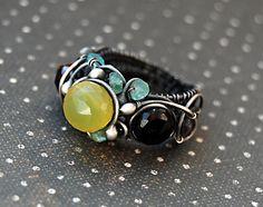 Ring Tanzania, fine chalcedony, garnet, apatite    Unique ring of handwork  single copy  designer Olga Krupin    size of a ring 17(RU) or 6,5 (US)  we